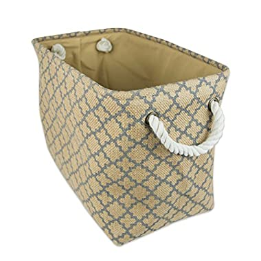 DII Collapsible Burlap Storage Basket or Bin with Durable Cotton Handles, Home Organizational Solution for Office, Bedroom, Closet, Toys, Laundry (Medium – 12x10x16), Grey Lattice Outline