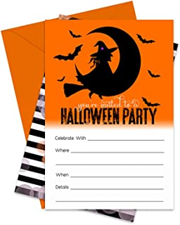 Wickedly Fun Halloween Party Invitations (15 Pack) Fill in Blank Invites and Envelopes
