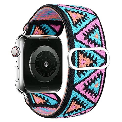 Correas de Repuesto Trenzada Compatible con Apple Watch 40 mm 38 mm 42mm 44mm, Sport Correa, Pulseras Coloridos Compatible para iWatch 6/5/4/3/2/1/SE, Banda Suave, Rosado Azul