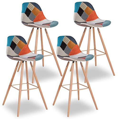 IDMarket - Lot de 4 tabourets de Bar SARA Motifs patchworks Multi-Couleurs