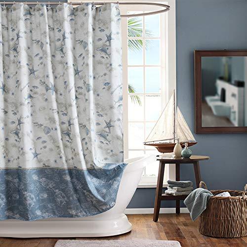 SDLIVING Madamoiselle Duschvorhang mit Muscheln, wasserdichter Polyester-Stoff, dekorativer Duschvorhang für Badezimmer, bedruckte Duschvorhänge, 183 x 183 cm (B x H)