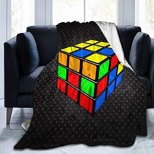 Comfy Soft Throw Blanket for Kids Adults, Colorful Cube Rubik Black Sherpa Flannel Office Blankets...