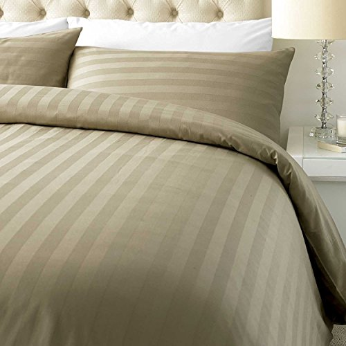 ED Luxurious 800 Thread Count Cotton Rich Satin Stripe Duvet cover with Housewife pillowcases 800 Thread Count (King/Mocha)