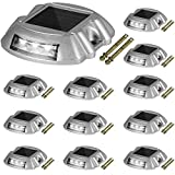 Happybuy Driveway Lights 12-Pack Solar Driveway Lights Bright White with Screws Solar Deck Lights Outdoor Waterproof Wireless Dock Lights 6 LEDs for Path Warning Garden Walkway Sidewalk Steps