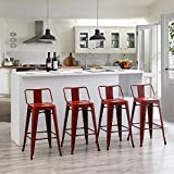 Distressed Bar Stools Set of 4 Industrial Counter Stools Metal Barstools for Indoor-Outdoor (30 Inch, Distressed Red)