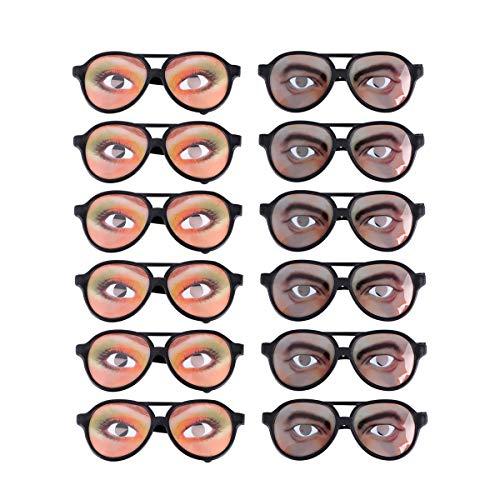 STOBOK 12 gafas de sol divertidas, marco de ojos, festival, fiesta de Halloween, estilo aleatorio