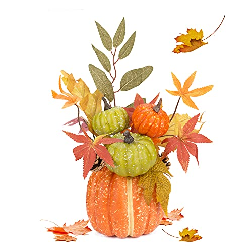 Artificial Pumpkin Home Ornament, 10.2 Inch Fake Pumpkin Artificial Vegetable Outdoor Pumpkin for Halloween Thanksgiving Day Dining Table Decorations
