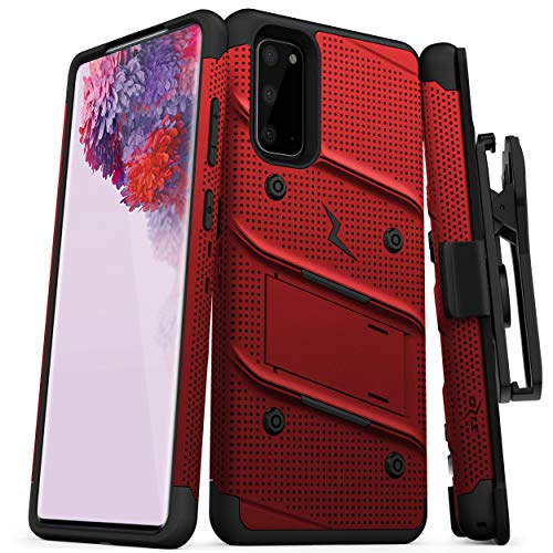 ZIZO Bolt Series for Galaxy S20 Case with Kickstand Holster Lanyard - Red