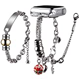 Vikoros Link Charm Bracelet Compatible with Apple Watch Band 42mm 44mm iWatch SE Series 6 5 4 3 2 1 for Women, Fashion Bohemian Jewelry Pendant Bangle Wristband Strap for Girls