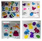 Nantucket Home Easter Spring Gel Clings Bunny's, Eggs, Happy Easter, Butterfly's, Decoration Pack for Windows, Mirrors, Car and More!