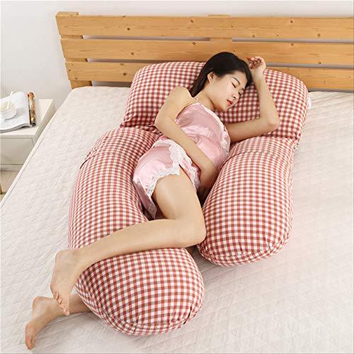 Chunjiao Schwangere Frau Taille Kissen Schwangere Frauen Side Schlafendes Kissen Multifunktionale Pflegekissen Schwangere Frauen Schlafen Artefakt Bein Kissen Pulver Grid F U-förmiges Kissen