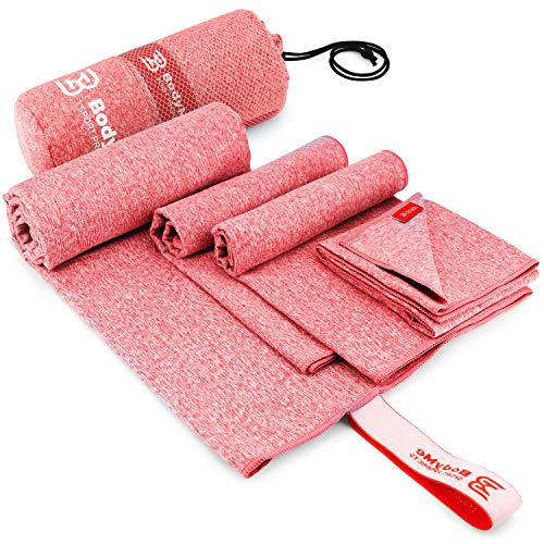 4 Size Towels at price of 1 – Microfiber Gym Towels – Multi Size Pack Towel – Workout Towels – 4x Absorption, Quick Dry Towel & Odor Block – Compact Lightweight Camping Towel Travel Towel Set