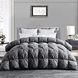 Hombys 120x98 Oversized King Goose Down Comforter, Grey Pinch Pleat Thick California King Duvet Insert with 100% Cotton Cover, Extra Large Fluffy Palatial King Down Feather Comforter for All Season