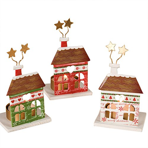 Mopec Portavelas metálicos de casita navideñas, Metal, Multicolor, 5 x 6.5 x 8.7 cm, 3 Unidades