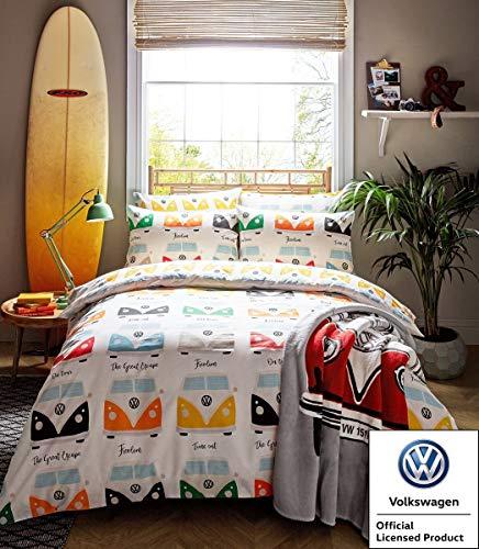 VW Official Bedding - Multi Campervan Duvet Cover Set (King Size Duvet Cover Set 228cm x 218cm)
