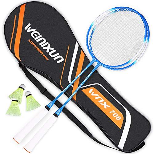 ZORARA Kit de badminton professionnel en ferroalliage de haute précision Weinixun pour l'entraînement, le sport et le divertissement avec volants et sac de raquette (bleu)