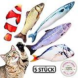 TILLMANN'S Katzenminze Kissen Spielzeug als Set mit 5 Fischen I wie Baldrian für Katzen I mit Katzenminze gefüllte Fisch Kissen