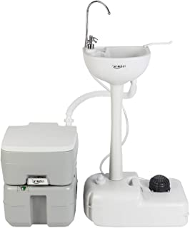 VINGLI Upgraded Portable Sink and Toilet Combo| Self-contained 5 Gal Hand Washing Station & 5.3 Gal Flushing Toilet, Perfect for Camping/RV/Boat/Road Tripper/Camper, Detachable & Lightweight