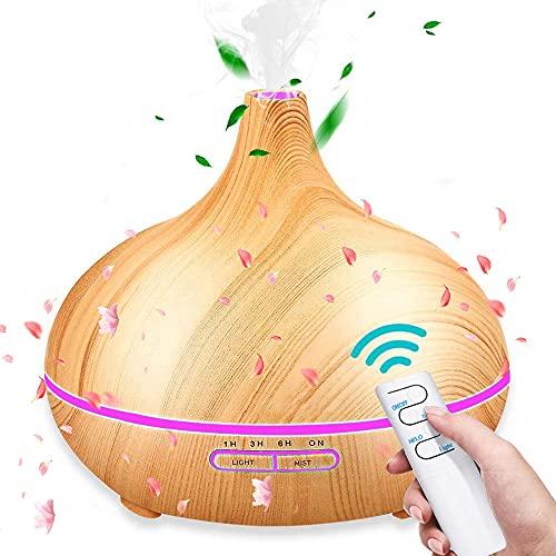 SunTop Humidificador Ultrasónico 550ml,Humidificadores Aceites Esenciales Difusor de Aceites Esenciales, purificador de aire con LED de 7 colores de para luminoterapia en el Hogar, Oficina, Spa, Bebé