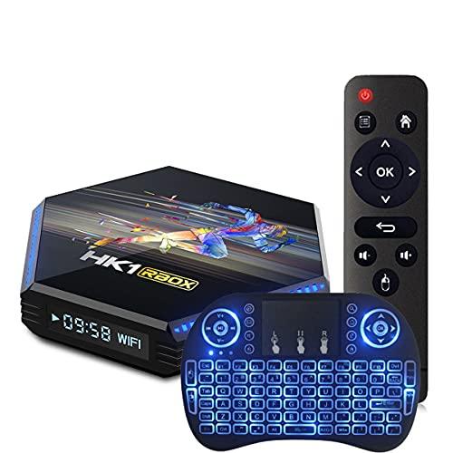 GEQWE Android TV Box, HK1 Box R2 Android TV Box 10.0 8GB RAM 64GB ROM RK3318 Quad-Core 64 bits, TV Box Soporte Dual-WiFi 2.4Ghz / 5Ghz BT 4.0 USB 3.0 3D 4K 8K Android Box,4gb+64gb