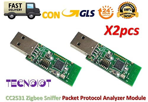 TECNOIOT 2pcs Zigbee CC2531 Sniffer Bare Board Packet Protocol Analyzer Module USB Dongle