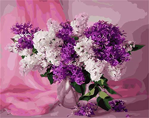 wtnhz Rahmenloses Glas ng penDRAWJOY Gerahmte Blumen DIY ng by Numbers Wandkunst DIY Canva60x90cm