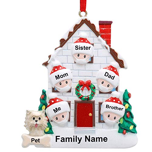 LMXCOL Personalized Family Christmas Ornament 2020 Survivor Family Customized Christmas Hanging Decorating DIY Xmas Gift (famliy of 6)