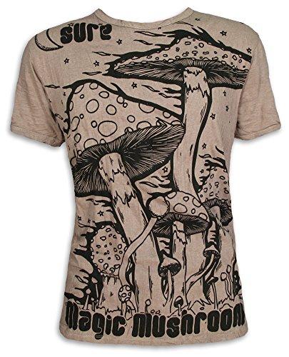 Sure Herren T-Shirt Magic Mushrooms Psychedelische Halluzinogene Zauber-Pilze Goa Party (Khaki Braun L)