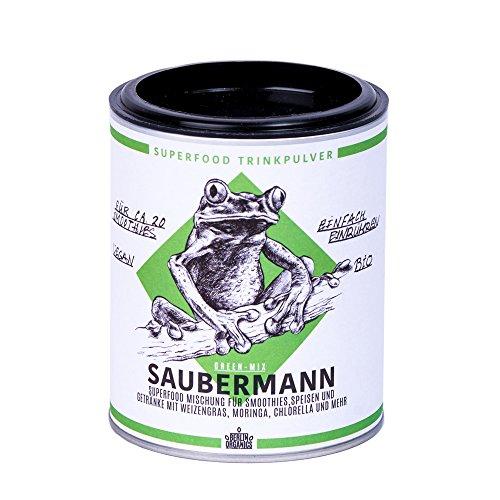 Moringa Weizengras Gerstengras Chlorella Spirulina Superfood Mischung Saubermann - Big 5 Superfood Smoothie Mischung - grüne Superfoods - 100% Bio & Vegan