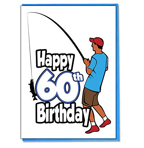 Angler Geburtstagskarte zum 60. Geburtstag–Herren–Sohn, Enkel–Freund–Mann–Brother–Mate–Boyfriend
