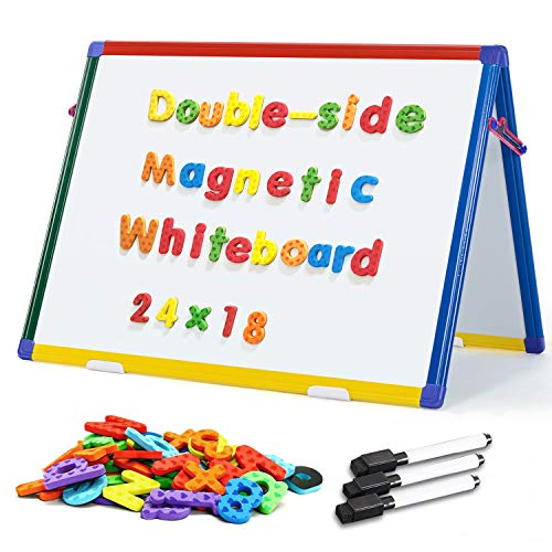 Double Sided Tabletop Whiteboard Easel Magnetic Desktop White Board Standing Foldable Dry Erase Board with 82Pcs Foam Magnets,24x18inch