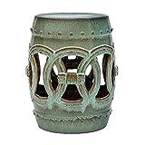 Abbyson Living Indoor/Outdoor Ceramic Garden Stool Decorative Side Table, Green