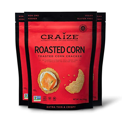 Craize Thin & Crunchy Toasted Corn Crackers – Roasted Flavored Healthy & Organic Gluten Free Crackers - 3 Pack, 4 Ounces Each