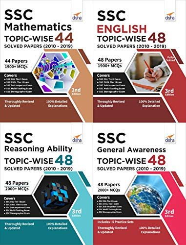 SSC Topic-wise 48 Solved Papers (2010-2019) - Mathematics, English, Reasoning & General Awareness - set of 4 Books
