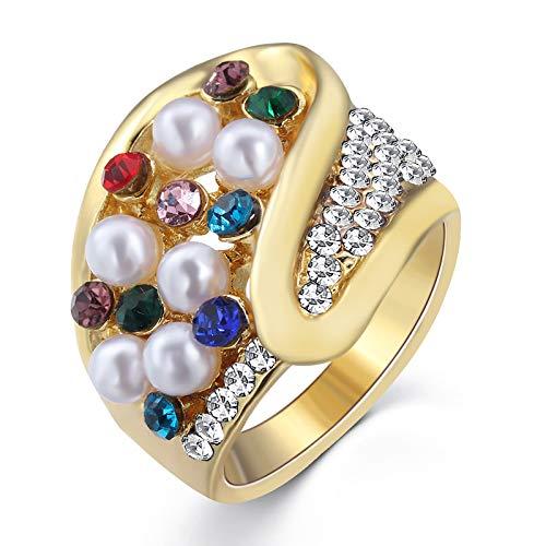 QSCVDEA Colorido con Incrustaciones de circonio Anillo de la Perla Caliente Nueva joyería Accesorios Anillo (Size : 18#)