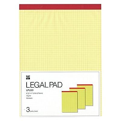 リーガルパッド A4変型サイズ(Lサイズ)用紙サイズ216×279mm 方眼 50枚 3冊入り LP