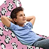 Ambesonne Panda Toy Bag Lounger Chair, Continuous Waving Greeting Panda Bear Asian Animal Bambus Lover Print, High Capacity Stuffed Animal Storage with Handle, Baby Pink Charcoal Grey