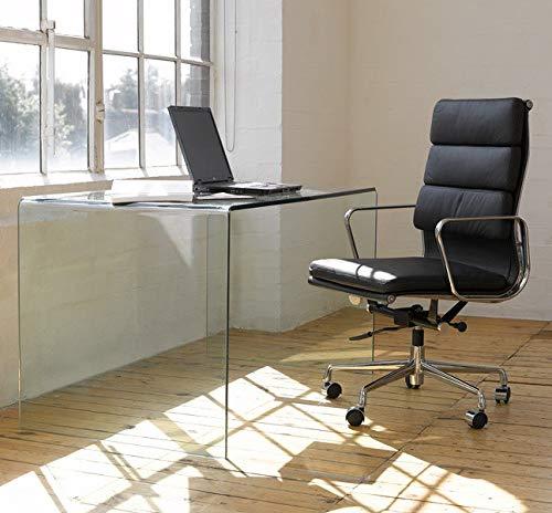 Grupo SDM Mesa Comedor o Escritorio Cristal Curvado Transparente, 125 x 70...
