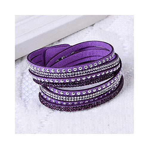 Armband Armreif, Schmuckgeschenk,9 Colors Ebay Hot Slake Deluxe Bracelet Rivet Multi-Layer Wrap Austrian Crystal Leather Armband Armreifs for Women Purple