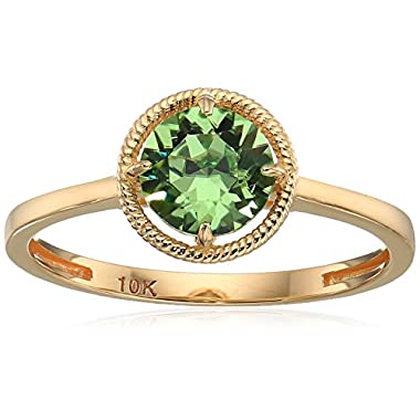 10k Gold Round-Cut Birthstone Ring made with...