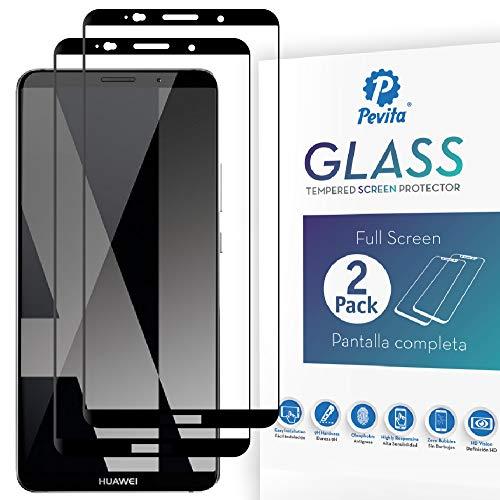 Pevita Pellicola Protettiva per Huawei Mate 10 PRO [2 Packs] Full Screen. Durezza 9H, Senza Bolle, Facile Installazione. Pellicola Protettiva di Vetro Temperato Premium per Lo Huawei Mate 10 PRO