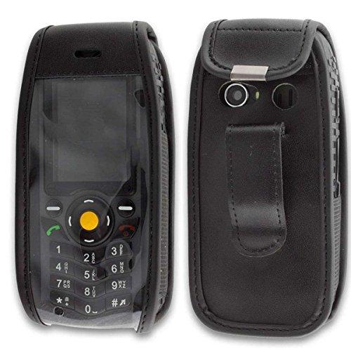 caseroxx Hülle Ledertasche mit Gürtelclip für Cat B25 aus Echtleder, Tasche mit Gürtelclip & Sichtfenster in schwarz