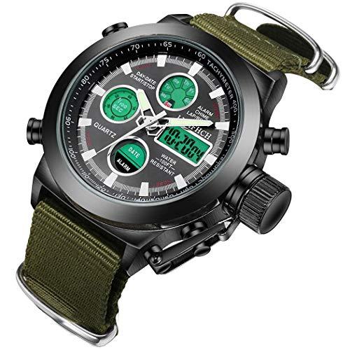 LYMFHCH Mens Black Big Face Sports Watch, LED Digital Analog Waterproof Military Luminous Stopwatch Army Green Wrist Watch
