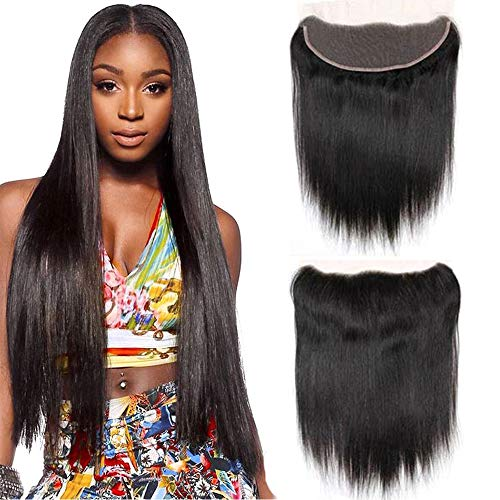 13x4 Full Lace Frontal Closure Ear To Ear Free Part Unprocessed Brazilian Virgin Hair Silky Straight Human Hair Extensions Pre-Plucked Top Lace Front Closures Natural Color 18 Inches