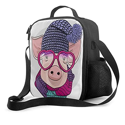 Mujeres Hombres Adultos Bolsa de almuerzo Pink Pig Piggy en azul gorro de punto y bufanda de punto Fiambrera con aislamiento Bolsa de almuerzo portátil Enfriador térmico Bolsas de almuerzo reutilizab