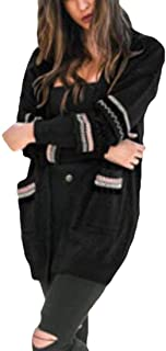 Womens Stitch Kint Long Sleeve Fashion Open-Front Cardigans Black US Small