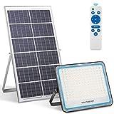 Faro solare led esterno 200W Pannello LED solare 6500K bianco IP67 Impermeabile Faretto solare fotovoltaico con telecomando