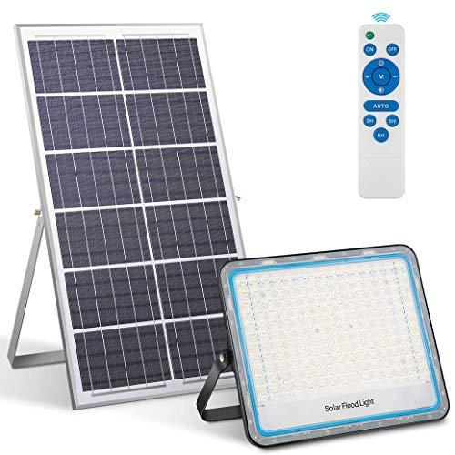 200W Foco Solar Exterior LED, Luz Solar Mando a Distancia, Blanco 6500K, 360 LEDs, IP67 Impermeable, La capacidad de la batería súper grande es de 36000 mAh