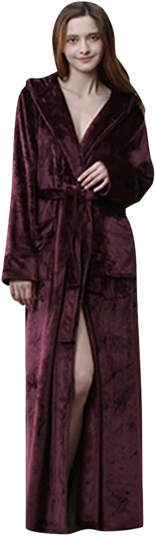 Beykie Fashion Hooded Long Bathrobes Warm Flannel Women's Robe Pajamas