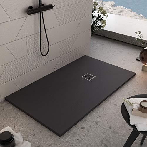 Essence ArredoBagno Plato de ducha de resina de 160 x 70 cm – Efecto piedra antideslizante con Gelcoat – Modelo Rome negro – Rejilla y desagüe incluidos